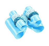 Elegant Ribbon Style Blue Rhinestone Decorated Rubber Band Hair Bow for Pet Dogs