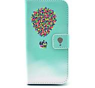 voando padrão balão e casa caso corpo colorido couro pu completo com slot para cartão para Samsung Galaxy S5 mini-