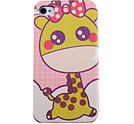 Lovely Giraffe Pattern Leather Full Body Case with Card Slot for iPhone 4/4S