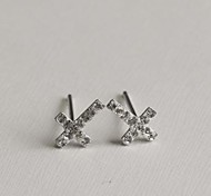 Sweet and Delicate with Drill Cross Stud Earrings