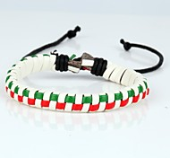 Christmas Tree Women's Leather Hard Bracelet Mosaic Check Red Green Braided Leather(1 Piece)
