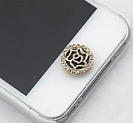 Round Rhinestone Rose Home Button Sticker for iphone
