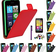 Open Up Genuine Leather Case with Screen Protector and Stylus and Dust Plug for Nokia Lumia 530 (Assorted Colors)