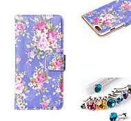 Flowers Pattern PU  Leather Full Body Case With The Dustproof Plug with Card Slot and Stand for iPhone 6
