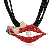 Fashion Red Mouse Alloy Spring  Pearl Zircon Necklace