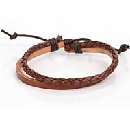Simplicity Adjustable Men's Leather Bracelet Very Cool Brown Ox Leather (1 Piece)