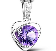 925 Sterling Silver Clever Heart Pendant Necklace With Water Wave Necklace