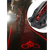 LS061 5 LED 2 Laser Beams Intelligent Bike Logo Safety Rear Tail Light