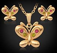 u7® 18k oro platino mariposa lindos aretes collar colgante de la joyería del Rhinestone de regalo de joyería de oro blanco engastado