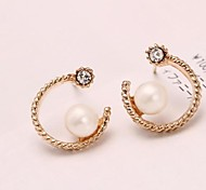 Half Moon Pearl Diamond Earrings
