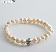 Lureme®Women's Diamond Ball Pearl Bracelet