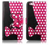 Pink and Black Bowknot Leather Wallet Full Body Case with Stand and Card Slot for iPhone 6
