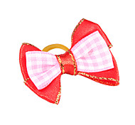 Lovely Two-Tone Ribbon Style Plaid Pattern Rubber Band Hair Bow for Pet Dogs
