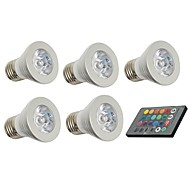 3W E26/E27 LED Spotlight 1 150 lm Remote-Controlled / Decorative AC 85-265 V 5 pcs