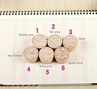 Vintage Blessing Round Wooden Rubber Stamp for DIYFingerprint Scrapbook Painting Wedding Kids Birthday Party Favors