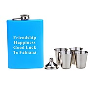 Personalized  Gift 6 Piece 8oz Stainless Steel Hip Flask Set