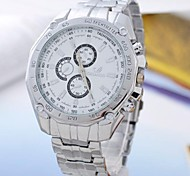Men's White Dial Alloy Band Quartz Analog Wrist Watch