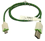 Tejido trenzado 1m micro usb cable del cargador del adaptador de sincronización para la galaxia s3 / s4 sony lg (verde)