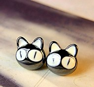 Lovely Big Eye Small Cat Patron Saint Stud Earrings