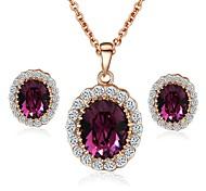 Emerald Elegant 18K Rose Gold Pated Purple\Green Austrian Crystal Pendant Necklace Earrings Jewelry Set
