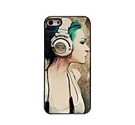 Girl with Earphone Pattern Aluminum Hard Case for iPhone 5/5S