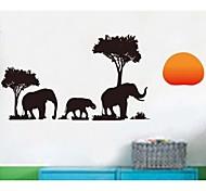 elefante preto parede árvore adesivos
