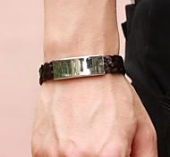 Ledergewebe Uni Titan Stahl feinen Herren-Armband