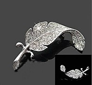 Unisex Sweet Full Diamond Leaves Pin Brooch