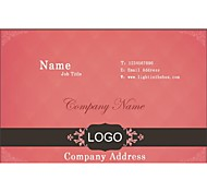 Personalized Business Cards 200 PCS Classic Pink Pattern 2 Sided Printing of Fine Art Filmed Paper