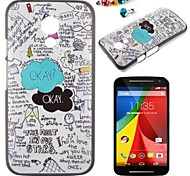 The Letter Pattern PC Back Cover Case With Dustproof plug for Motorola G2