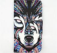 Волк Pattern Кожа PU Полный чехол для тела с слот для карт и стоять на Samsung Galaxy S5 мини