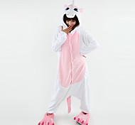 kigurumi Pajamas Unicorn Malha Collant/Pijama Macacão Halloween Pijamas Animal Rosa Patchwork Malha polar Kigurumi UnisexoDia Das Bruxas