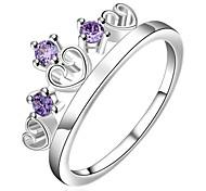 aaa Zircon eingelegt Verkupferung fashion lila Herz Krone 925 Silberring