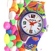 violeta pulseira de silicone rodada movimento de quartzo japonês relógio fw922j das mulheres