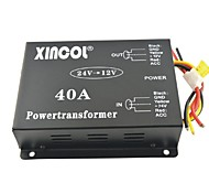 Xincol® Vehicle Car DC 24V to 12V 40A Power Supply Transformer Converter with Fan Regulation-Black