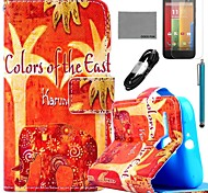 COCO FUN® Floral Elephant Pattern PU Leather Full Body Case with Film and USB Cable and Stylus for Motorala Moto G