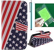 The American Flag Design PU Full Body Case with Card Slot and Stand for iPhone 4/4S