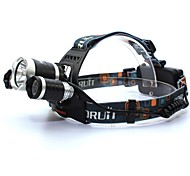 3XT6 Rechargeable 3-Mode 3xCree XM-L T6 Waterproof Headlamps(2x18650,3500LM)Black