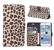 Leopard Pattern Wallet Style Magnetic Flip Stand Leather Case for iPhone 6 Plus(Assorted Colors)