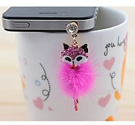 Rhinestone Fox Anti-dust Earphone Jack for iPhone/iPad and Others(Random Color)