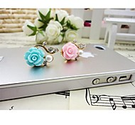 Rose Flowers Pearl Rhinestone Anti-dust Earphone Jack for iPhone/iPad and Others(Random Color)