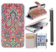 Mysterious Pattern PU Leather Full Body Case with Stand and A Stylus Touch Pen for iPhone 4/4S
