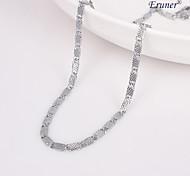 Eruner®Unisex 4MM The Grid Silver Chain Necklace NO.75
