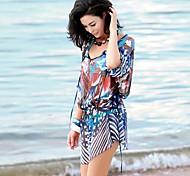 Women's Fashion Sexy Multicolor Print Bikini Swimwear Swimsuit Sun Prevention Beach Cover-up