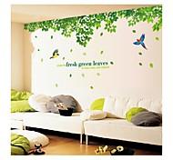 настенные наклейки наклейки на стены, стиль свежие зеленые листья и птицы пвх наклейки