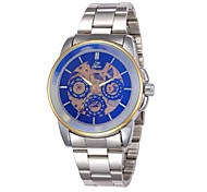 Men's Skeleton Style Silver Steel Band Auto Mechanical Wrist Watch(Assorted Colors)