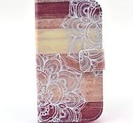 Blume auf Holz Muster PU-Leder Ganzkörper-Fall mit Kartensteckplatz für Samsung-Galaxie Core-Plus-G350