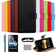 COCO FUN® Luxury Solid Color Genuine Leather Case with Film and Cable and Stylus for Sony Xperia St27i (Assorted Colors)
