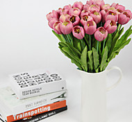 juego de 3 falsos flores pu tulipán, color al azar de resina