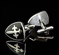Toonykelly Fashion Men's Silver Shield Black Enamel Copper Cufflink(Silver)(1 Pair)